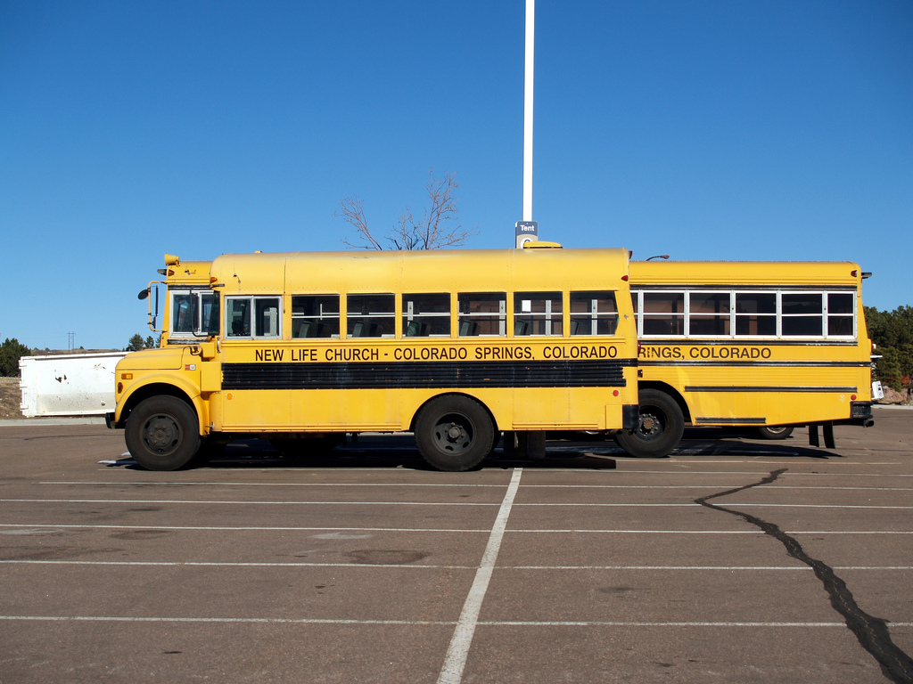 Buses for the Ted Haggard-founded New Life Church in Colorado Springs, Colorado